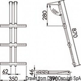 Σκάλα Τηλεσκοπική Inox SS316 3 Σκαλιά W35 x L87cm